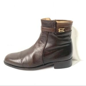 Bally Rudy Vintage Dark Brown Leather Dress Boots